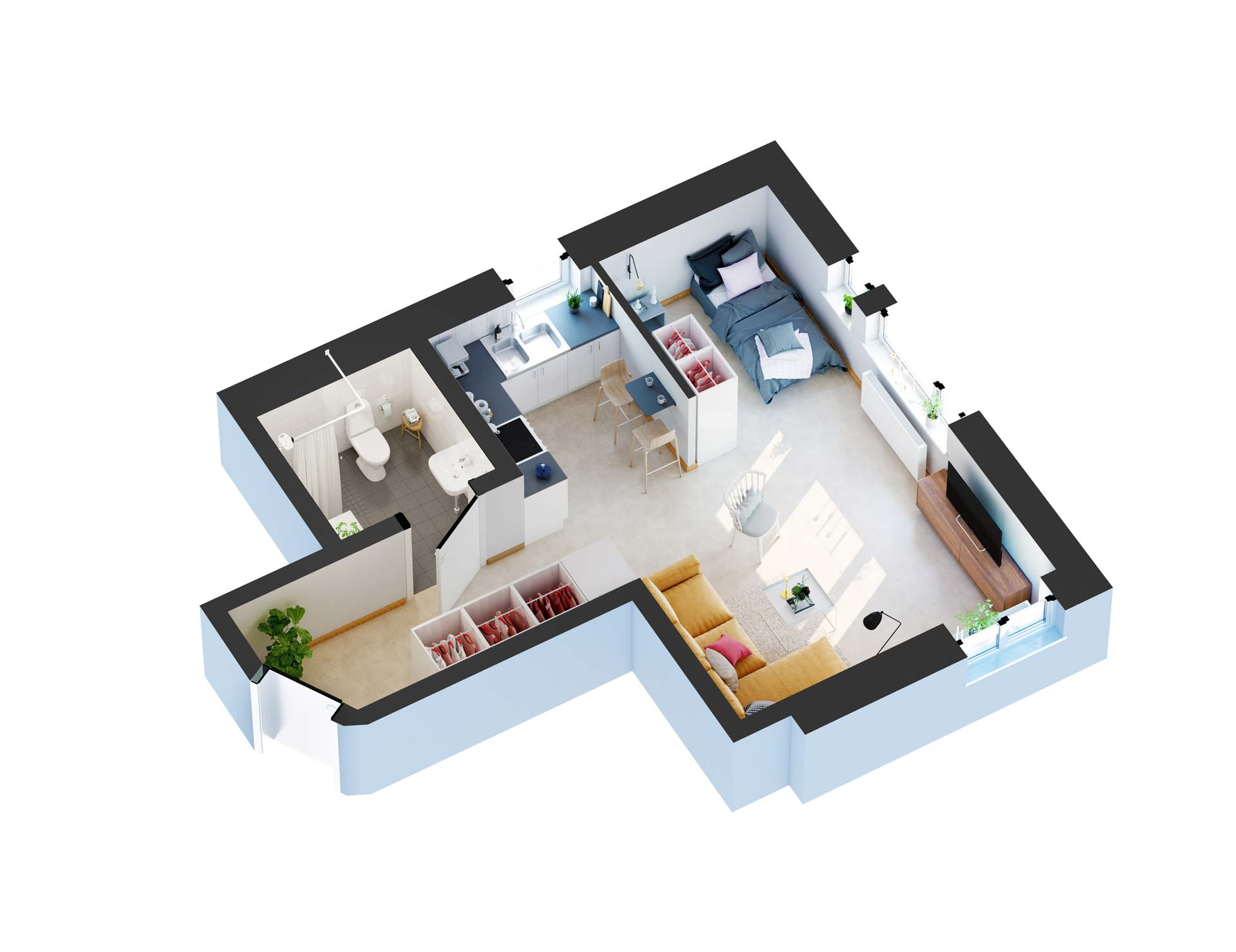 Interior Floor Plan In 3D  Viscato Visualizations
