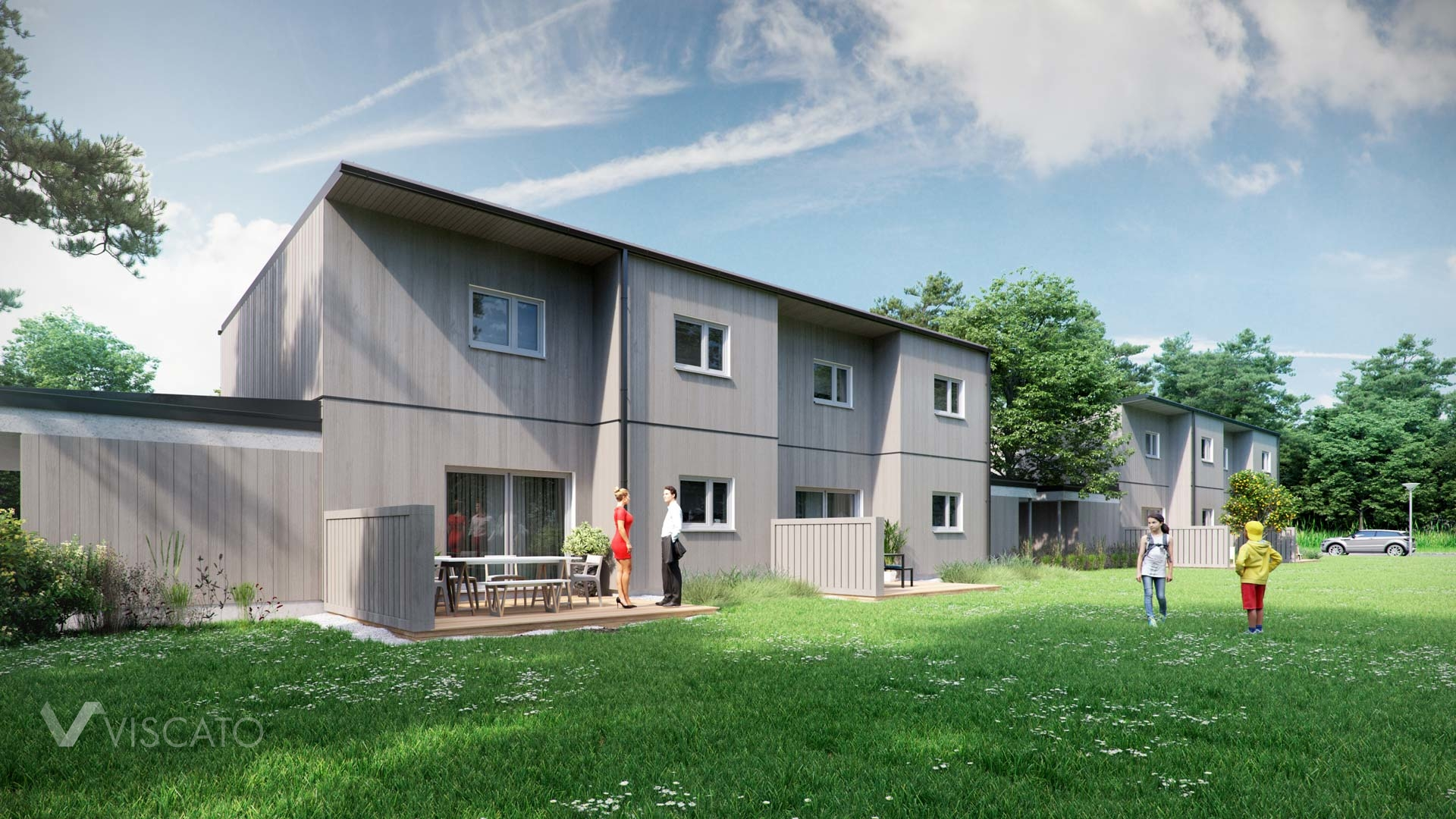 3D visualization of a grey semi detached house- Viscato