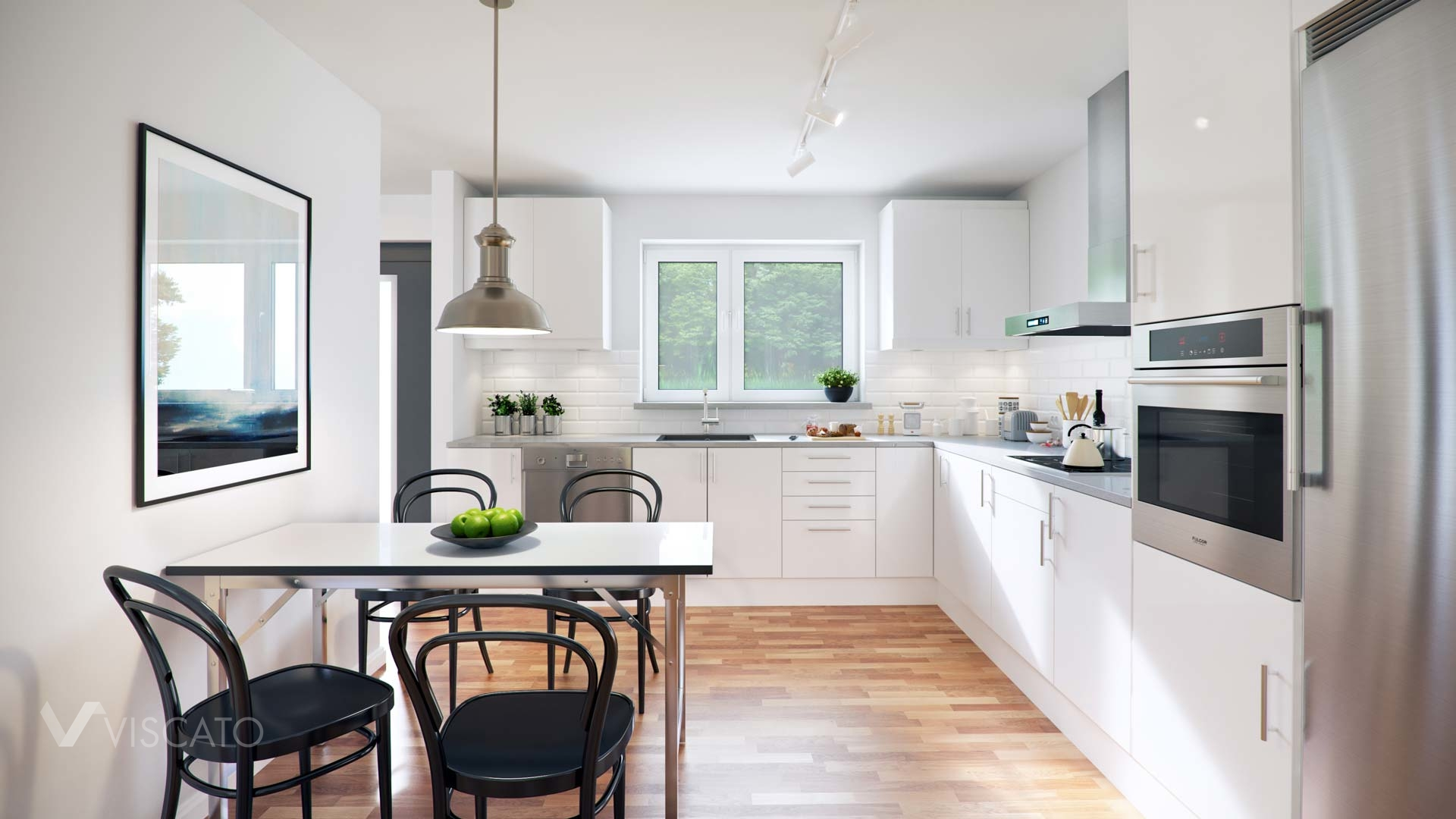 3D kitchen visualization of a house in Sweden- Viscato