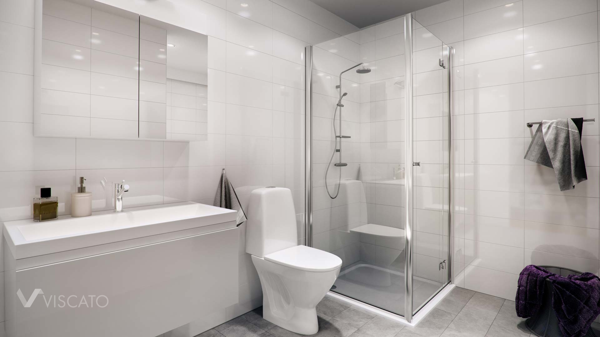 3D bathroom visualization with white and grey tiles- Viscato