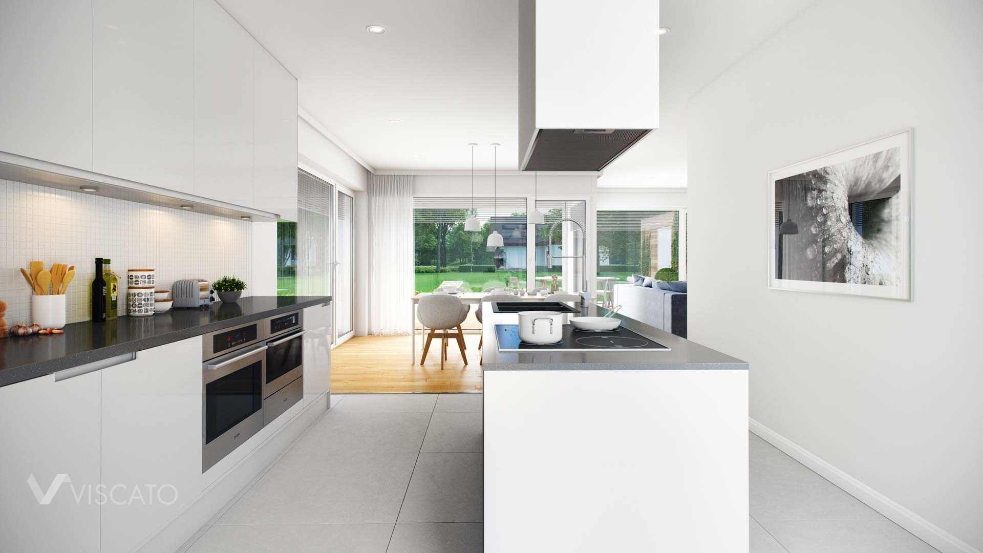 3D visualization of a kitchen with a modern island- Viscato