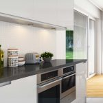 3D rendering of a white kitchen- detailed view