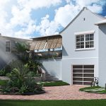 3D visualizations of a house with palm tres- viscato