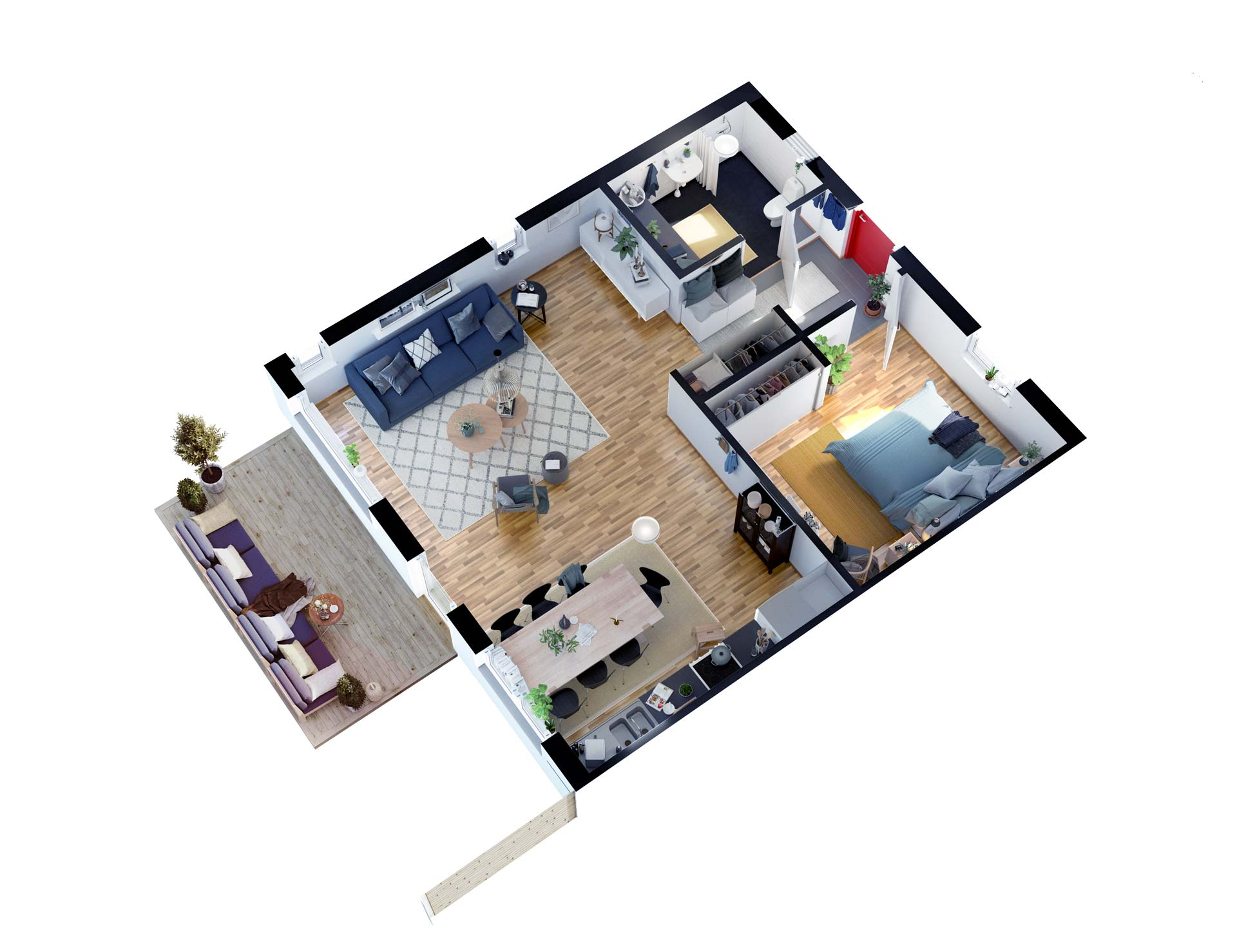 Floor plan of a modern Scandinavian apartment- 3D Viscato