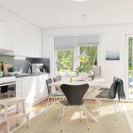 3D interior visualization of a kitchen with a dining table- Viscato