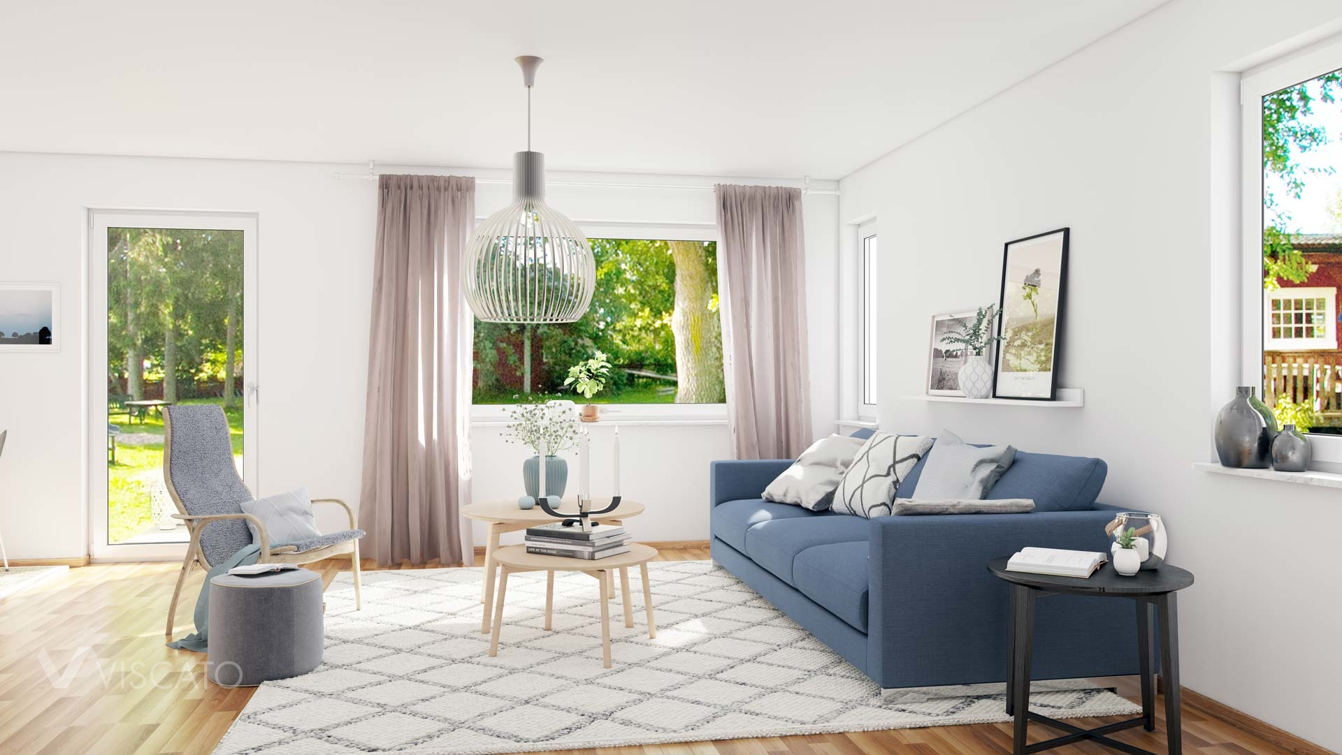 Living room with an access to the garden- Viscato 3D interior visualizations