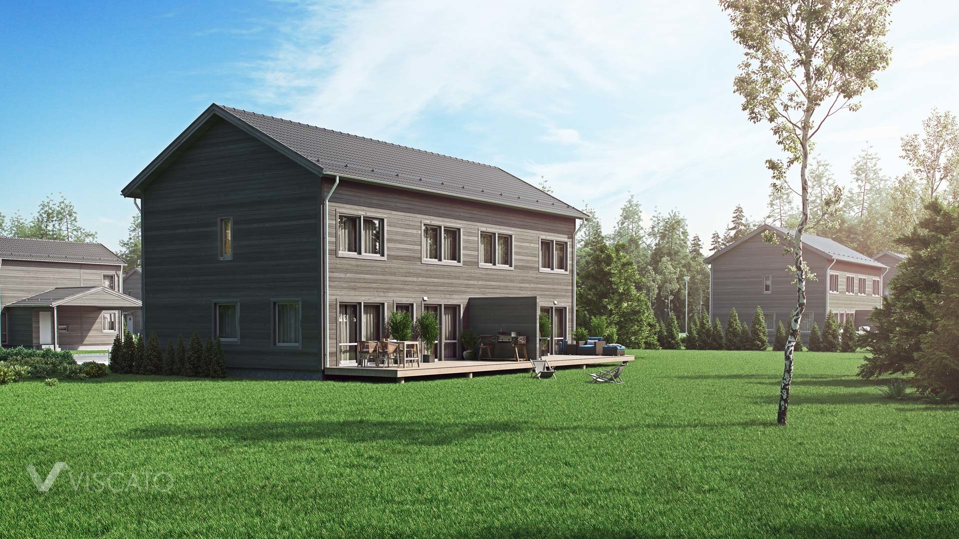 3D exterior visualization of a house with wooden siding- Viscato