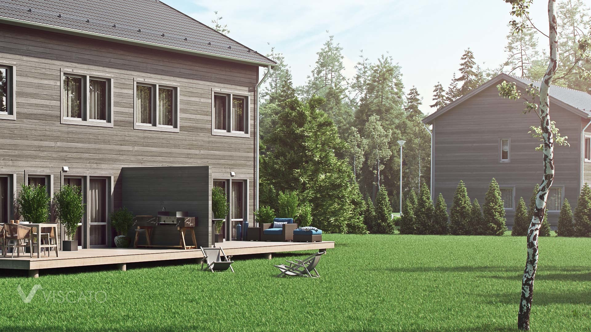 semi detached house with wooden siding 3D visualization- garden view