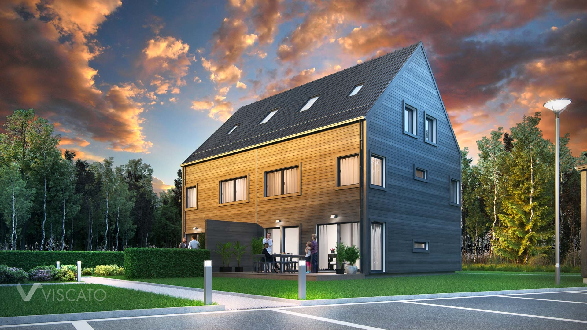 3D Visualization of a house with wooden siding- Viscato