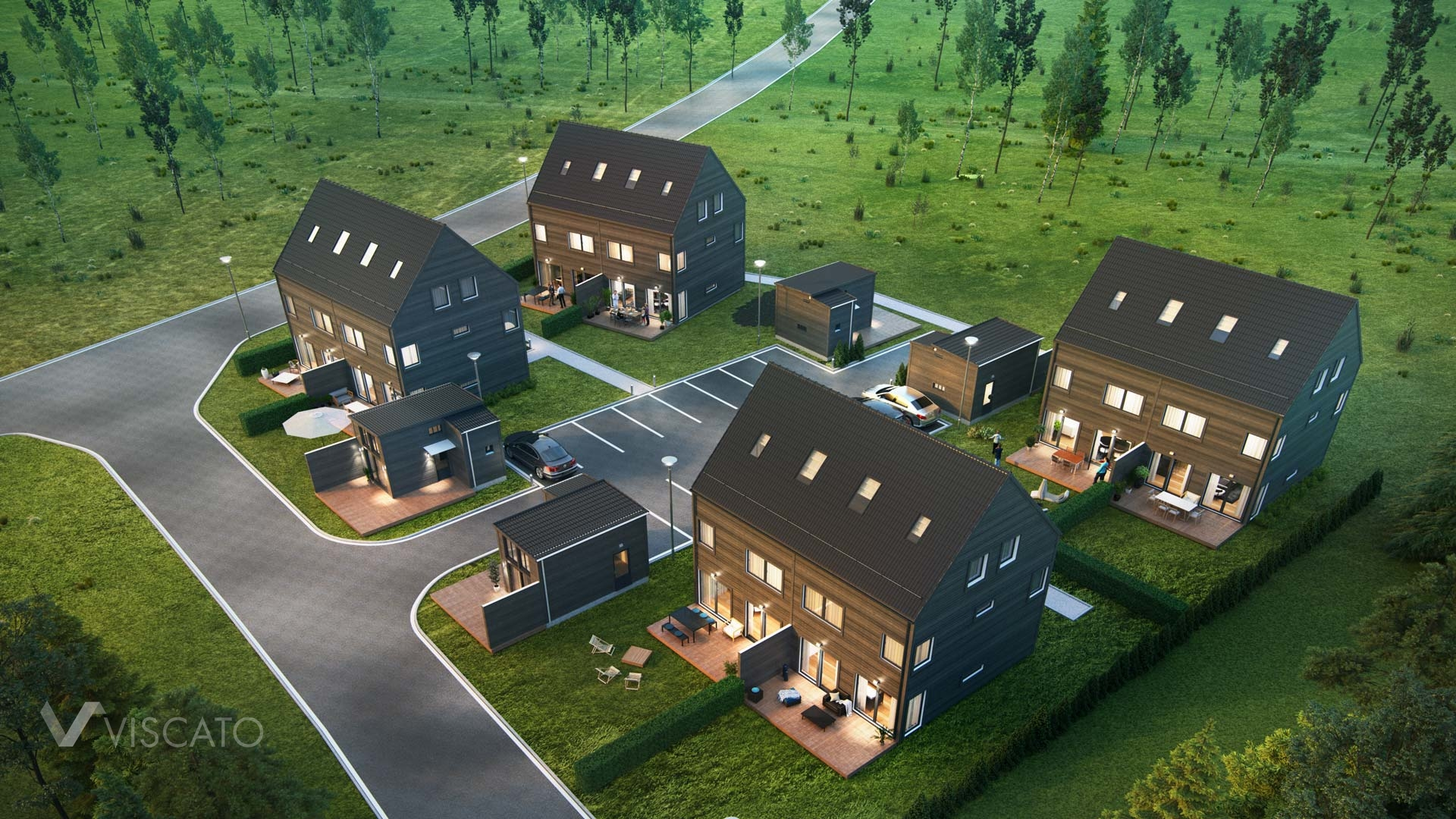 3D architectural visualizations of a housing estate- bird eye view, Viscato