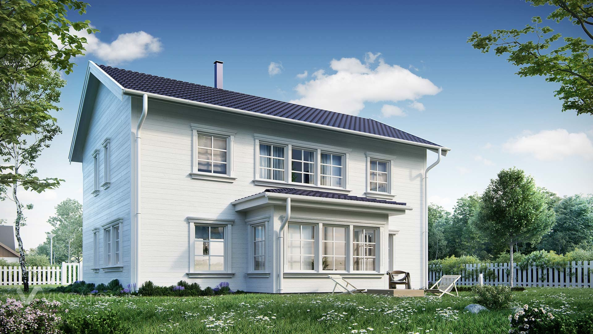 3D rendered house with elevation made of painted white wood Viscato