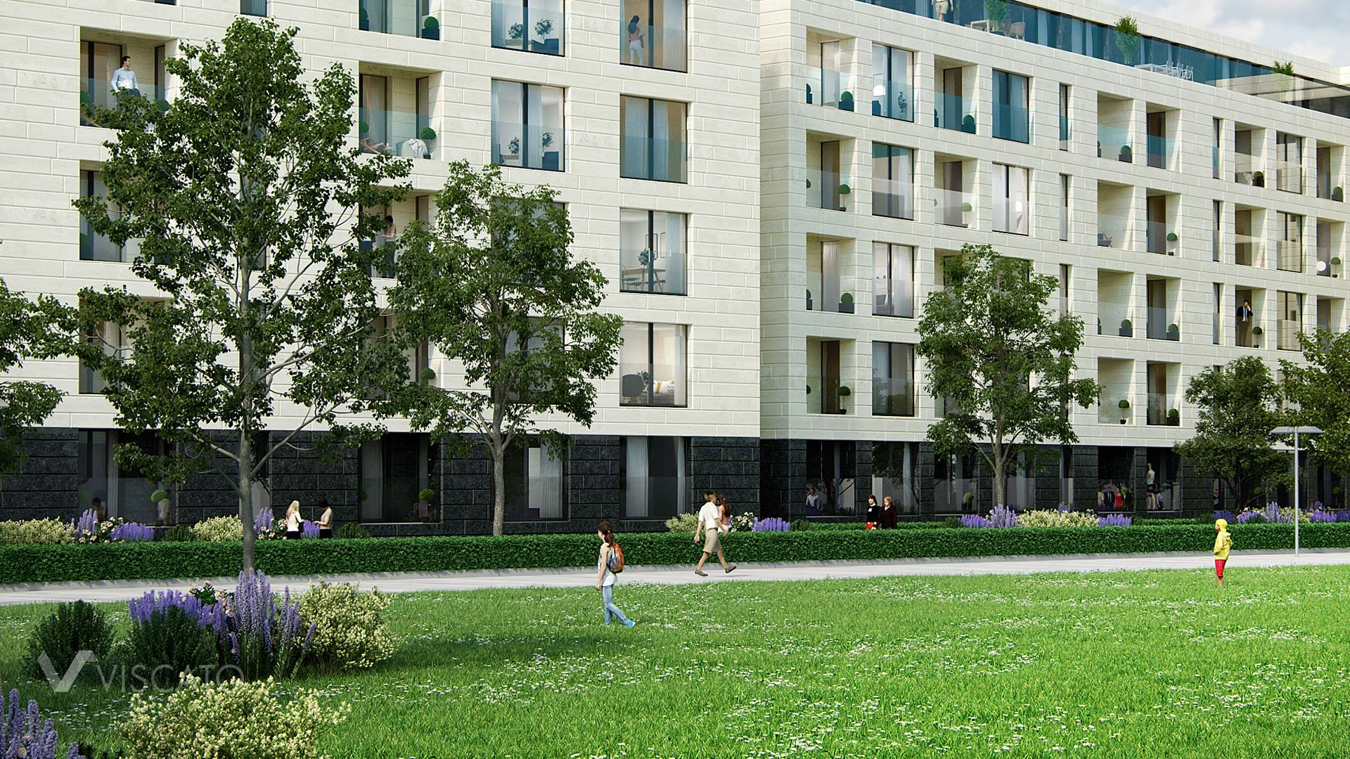 3D exterior visualization of a block of flat in Luxembourg- detailed view