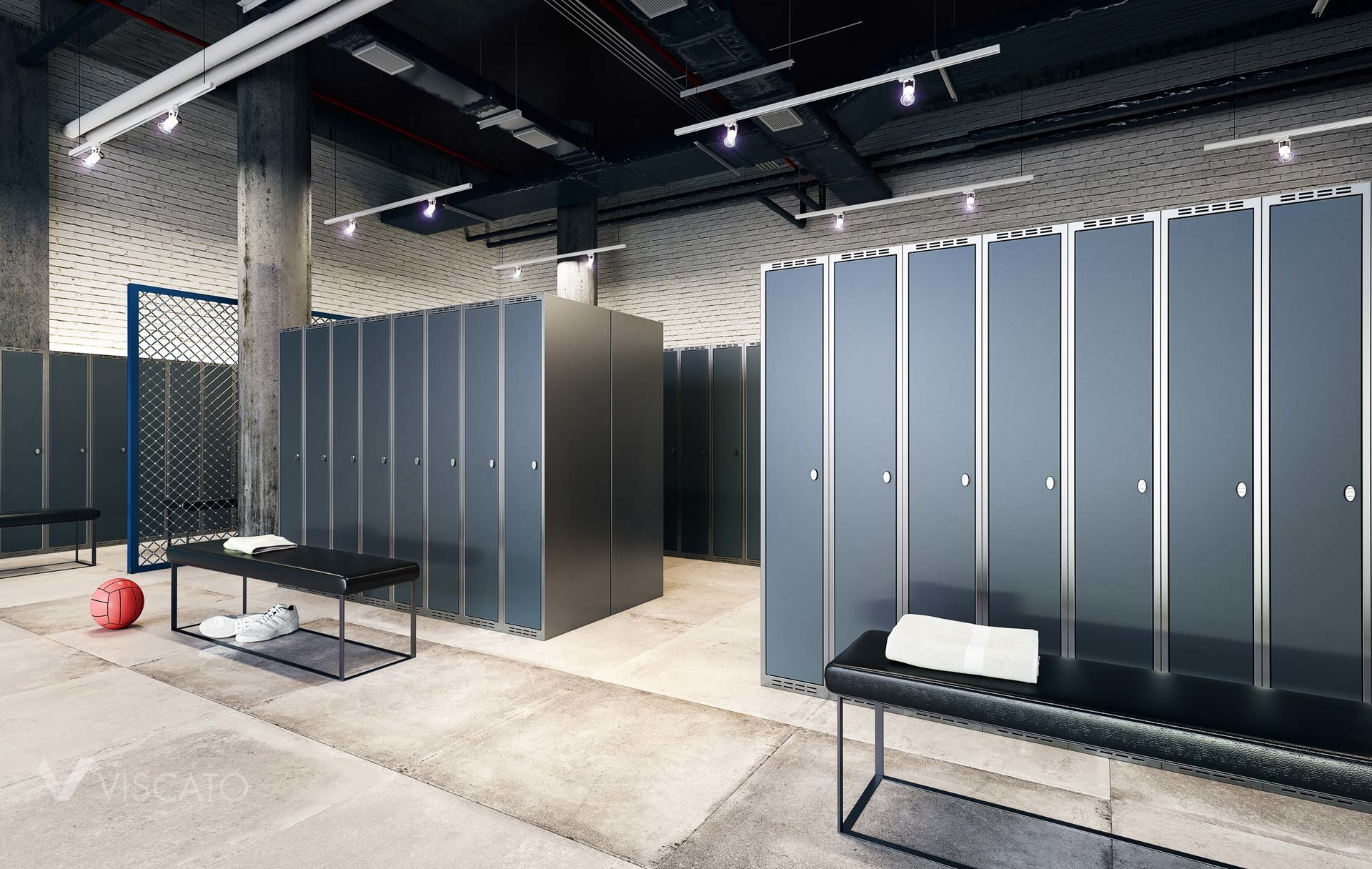 3D interior renderings of a changing room with lockers- Viscato