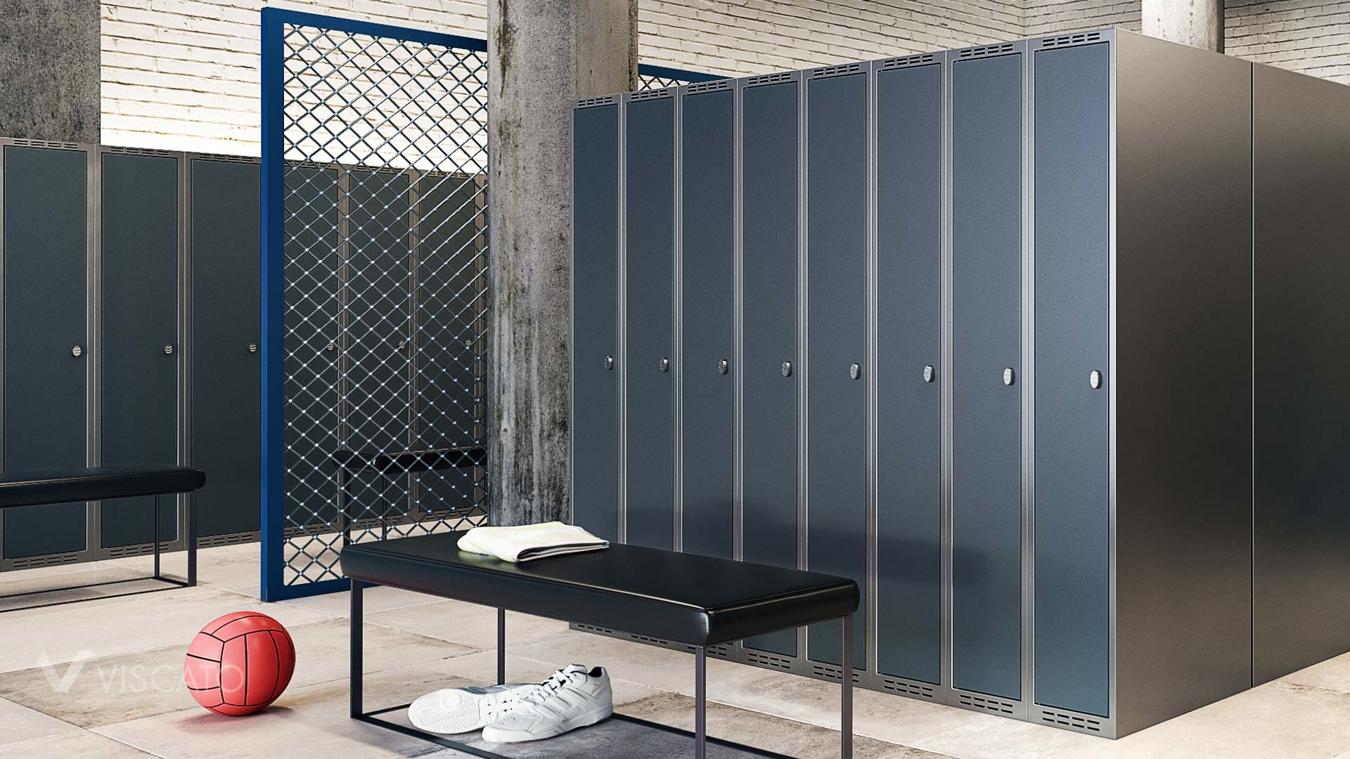 3D interior visualizations of a changing room with lockers- Viscato
