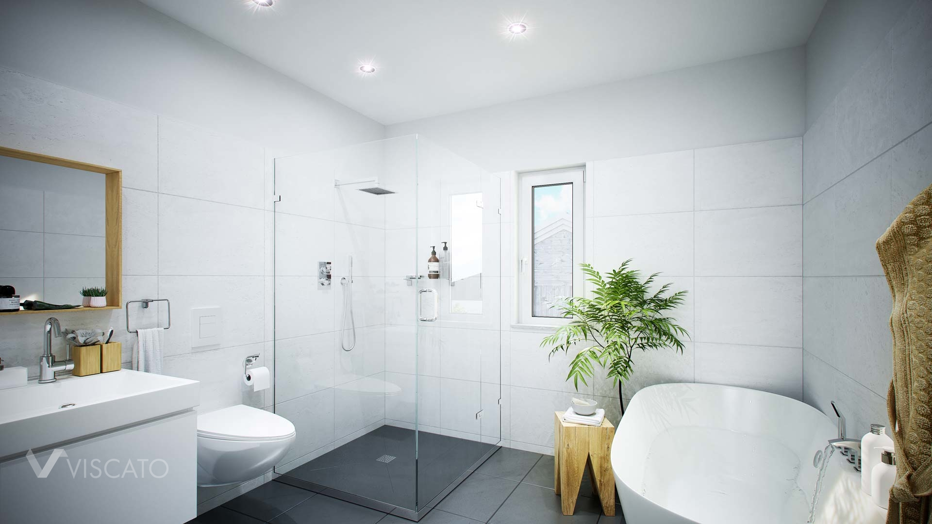 Artistic renderings of the consistent bathroom with a glass shower Viscato