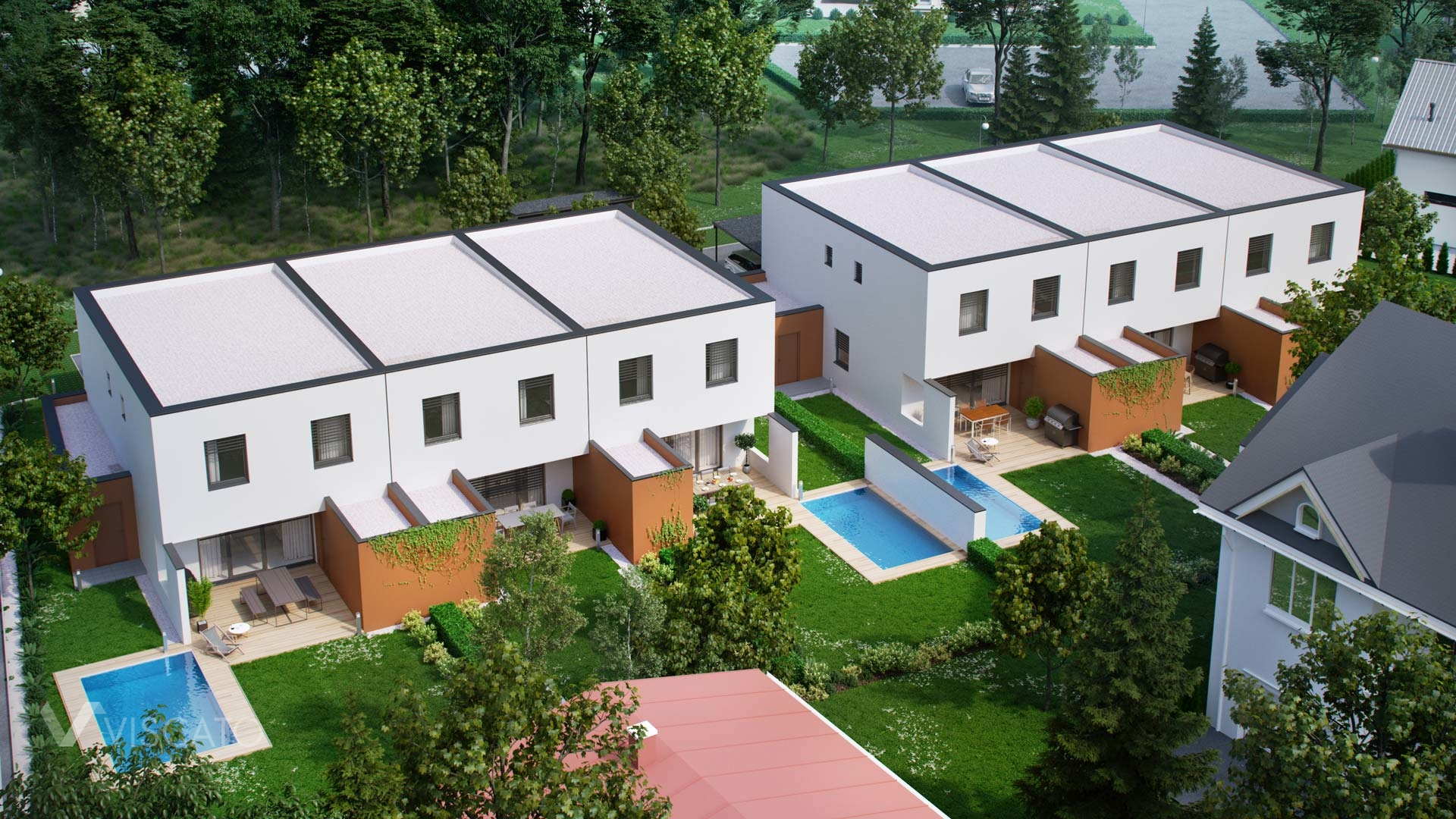 3D exterior rendering of semi-detached house with swimming pool Viscato