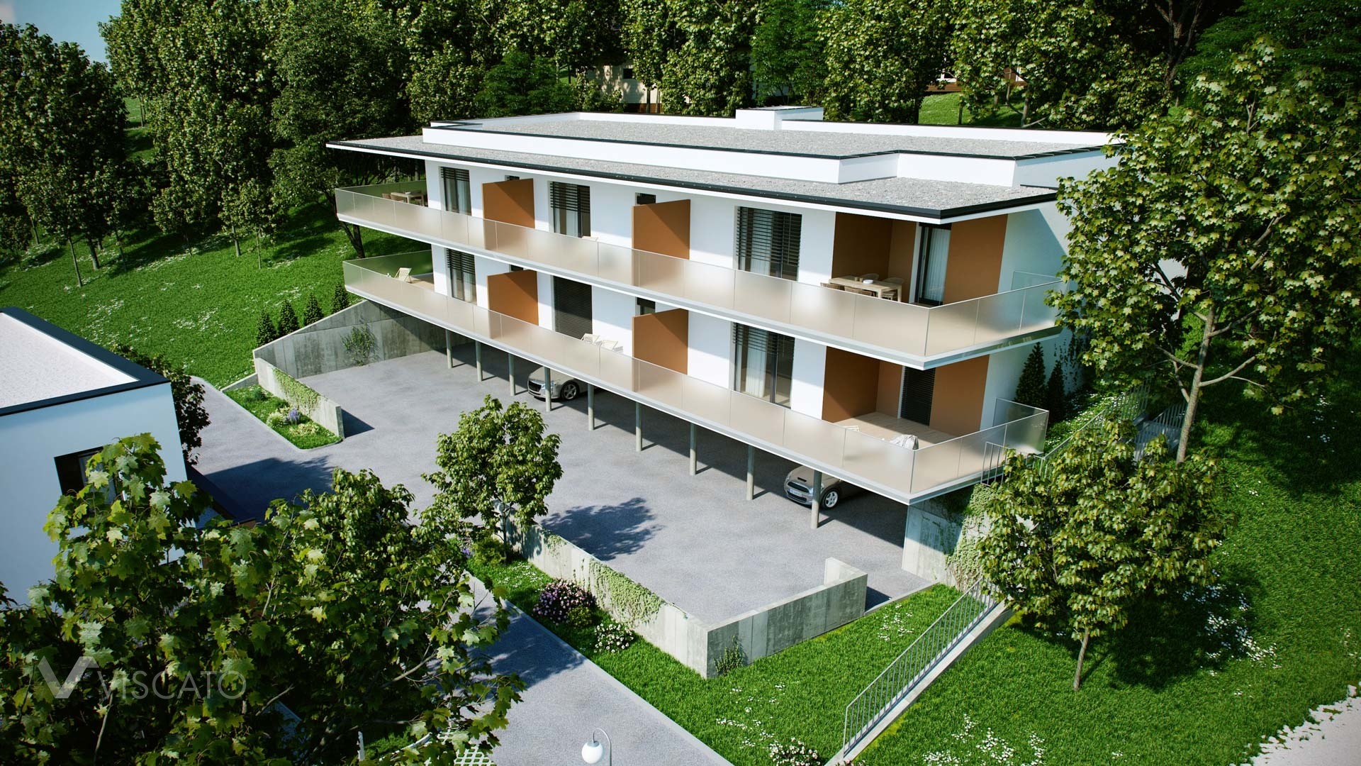 Lifelike visualization of a multi-family house with a parking space Viscato