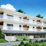 3D renderings of a multi-family building with glass balustrade Viscato