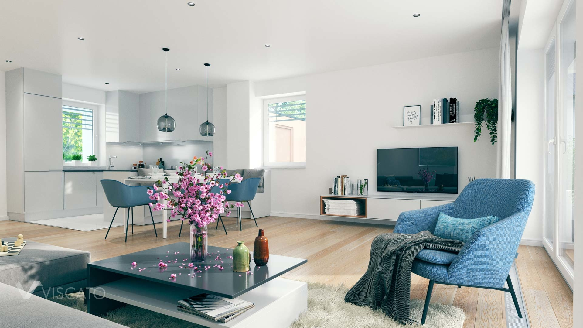 3D visualization of spacious and modern interior with a flower vase Viscato
