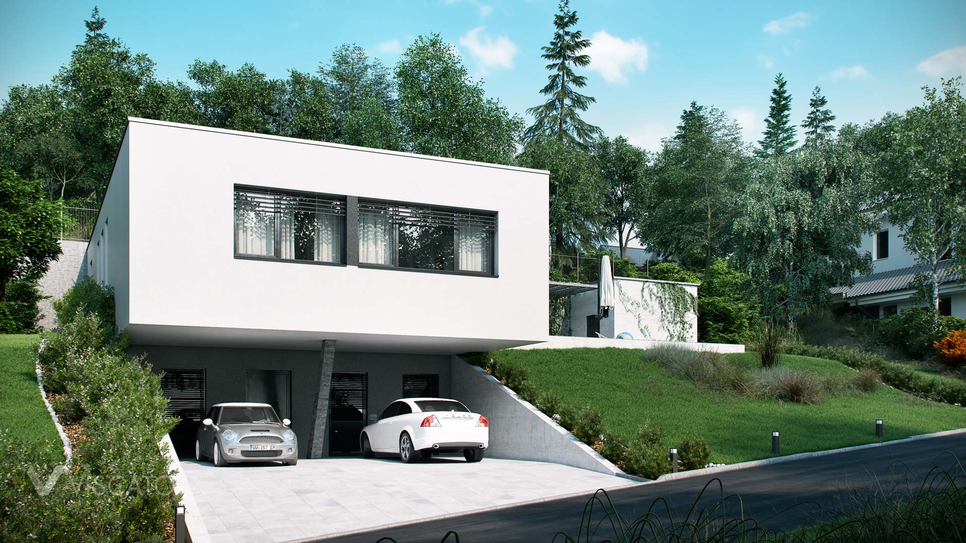Exterior visualization from Austria with innovative garage design Viscato