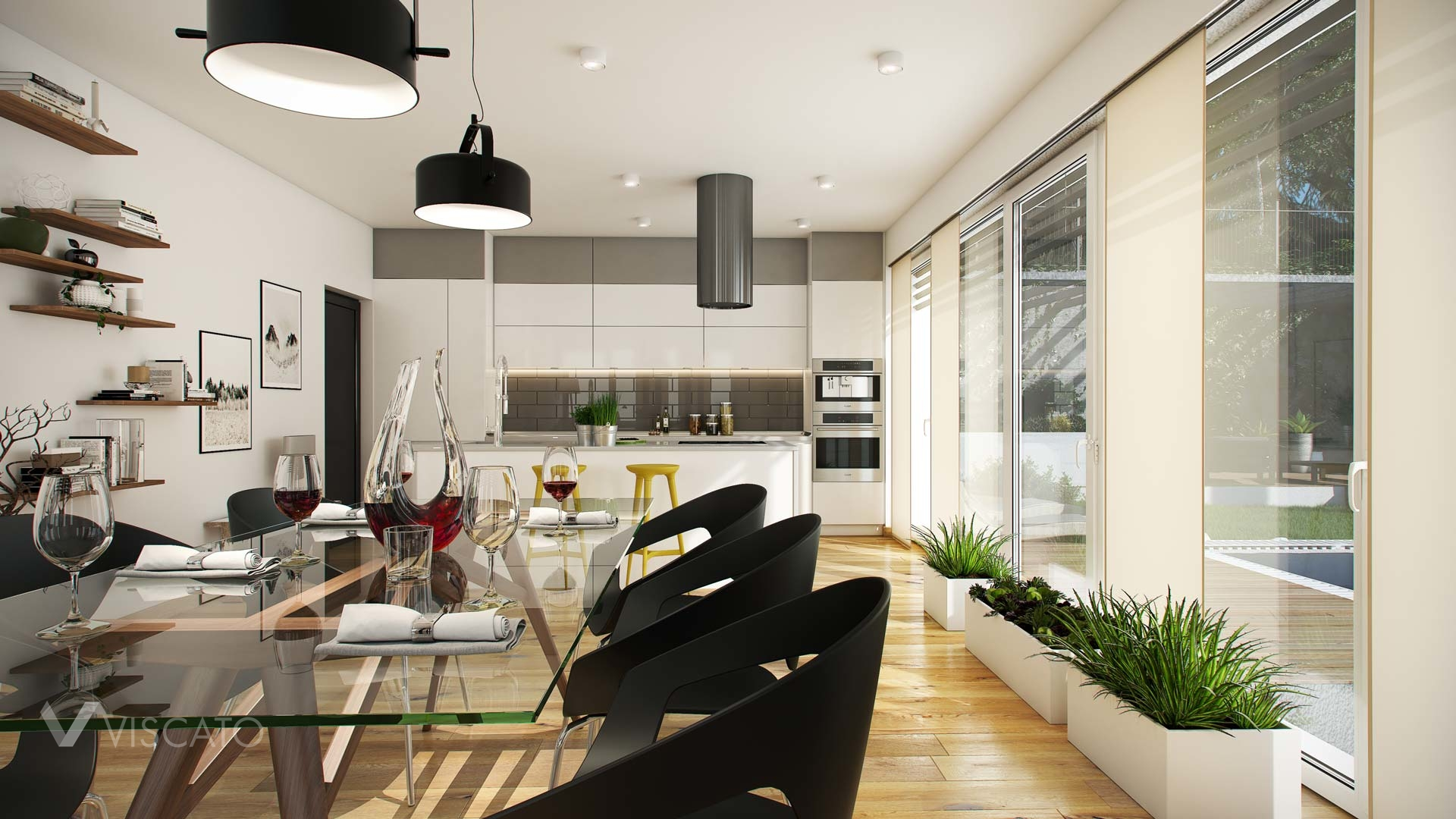 Interior Renderings of a bright room with details made of glass Viscato