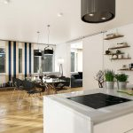 3D visualization of a merged living room and kitchen with wooden floor Viscato