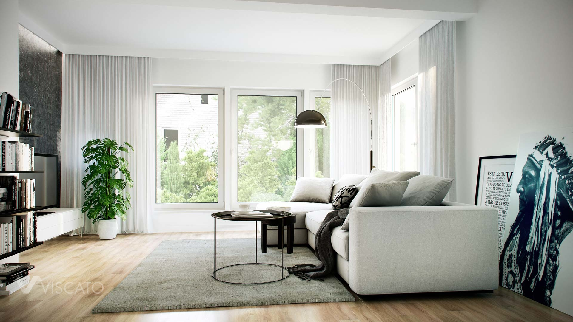 3D renderings of a bright living-room with white curtains Viscato