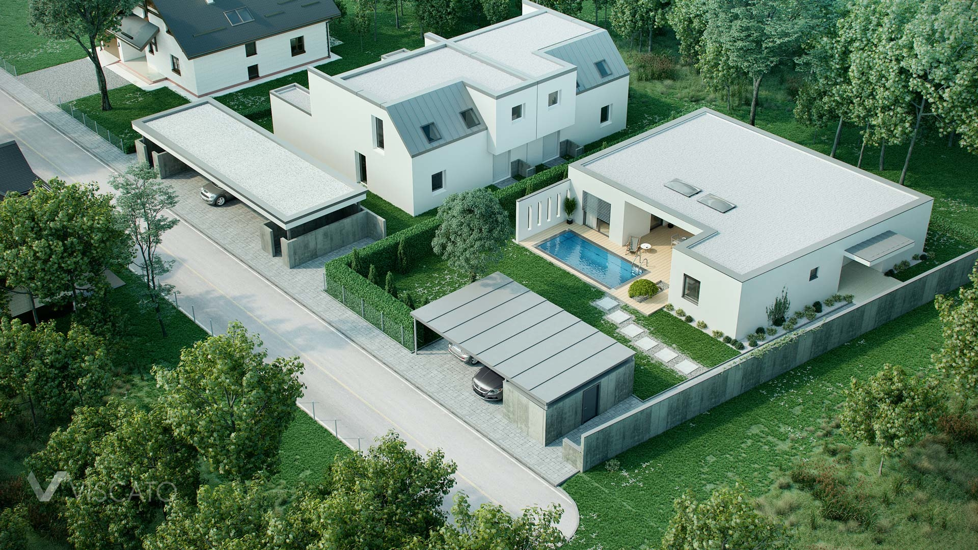 Lifelike renderings of a single-family house located in suburbs Viscato