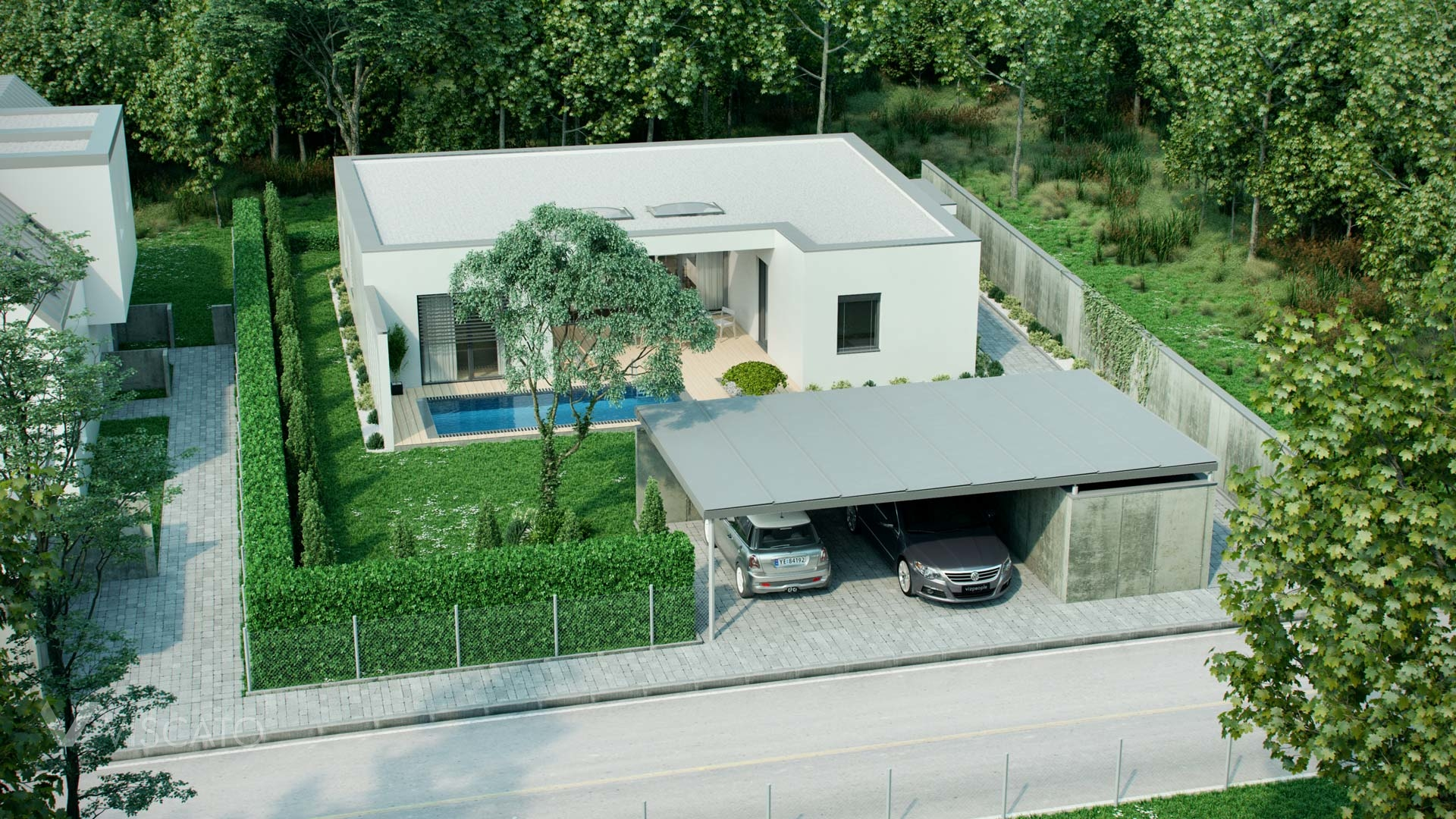 3D Visuals from bird-eye perspective of a roofed garage and house Viscato