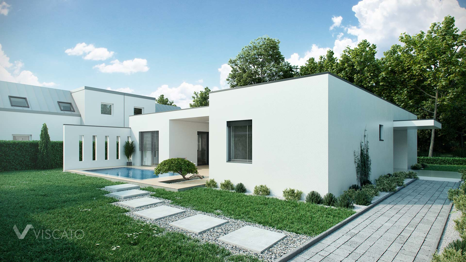 Architectural visualization of a single-family house with a swimming pool Viscato