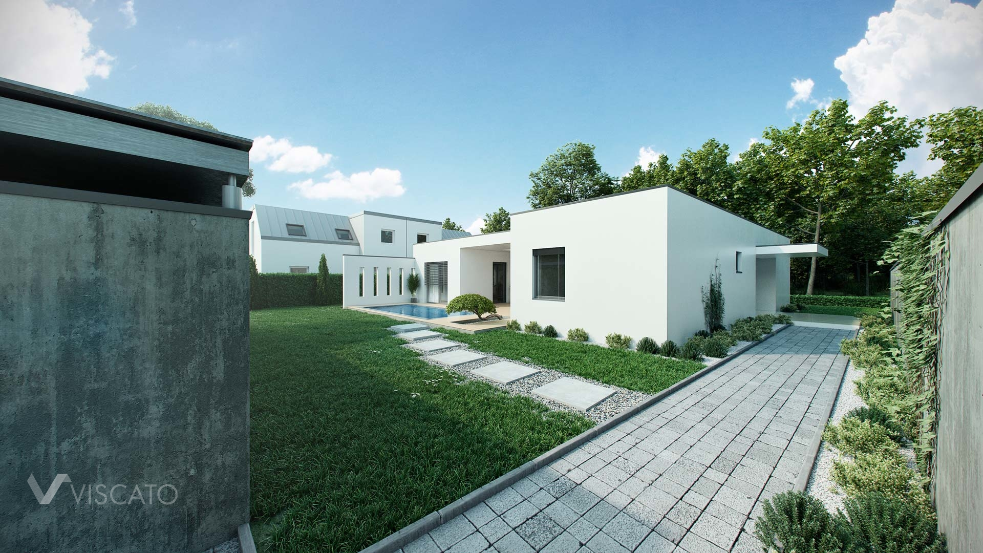 3d visualization of a backyard and white house Viscato