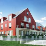 Renderings of multifamily building with red facade Viscato