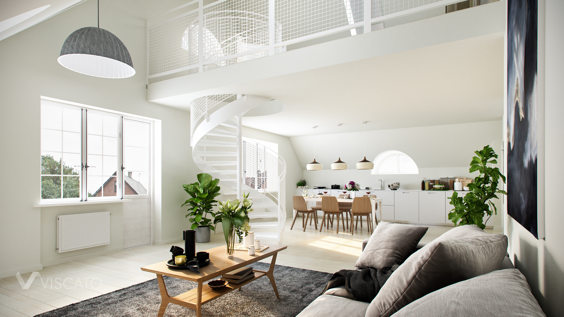 3D Design Rendering with grey sofa and wooden elements Viscato