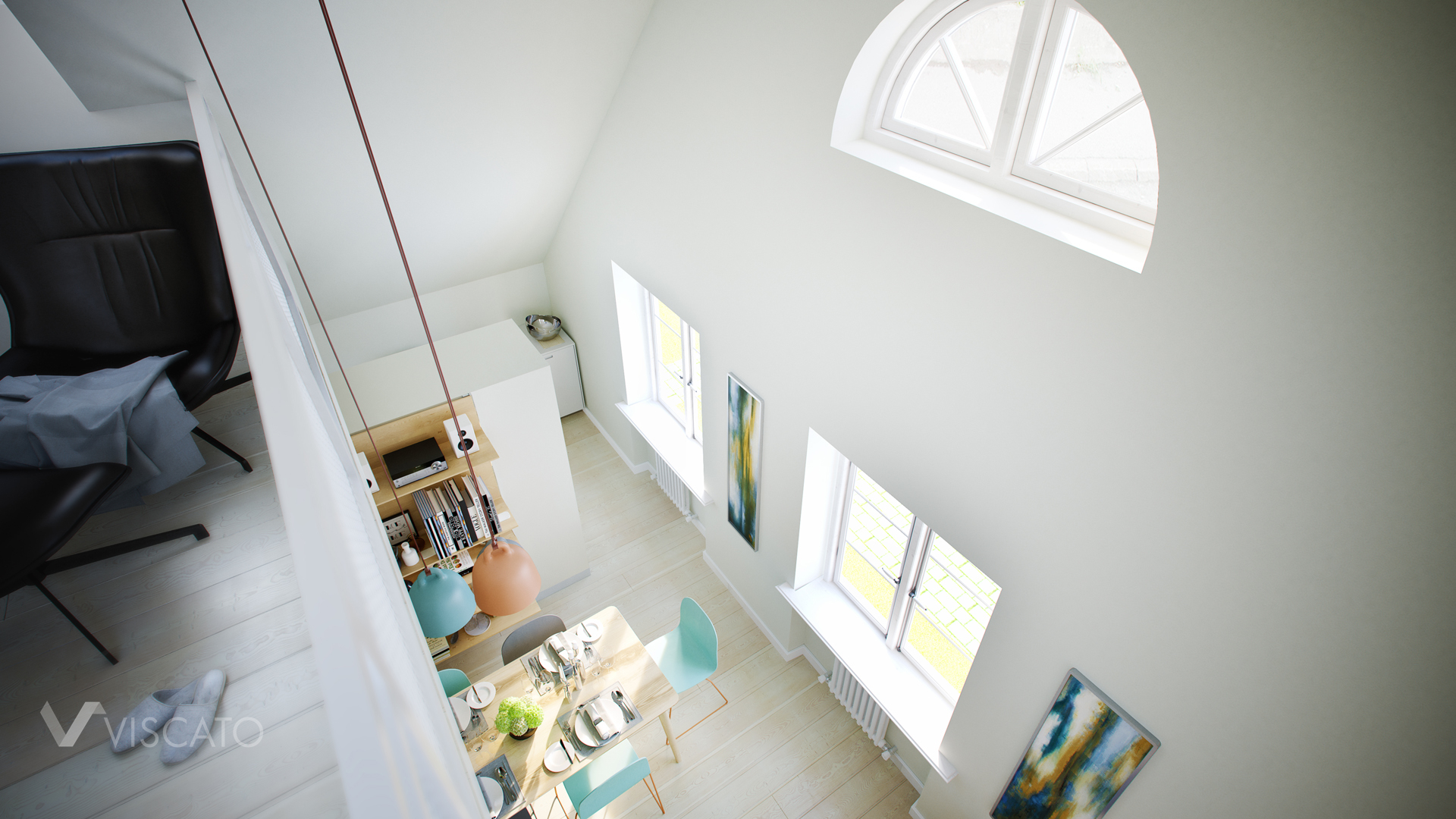 3D Image of attic space situated in modern house Viscato