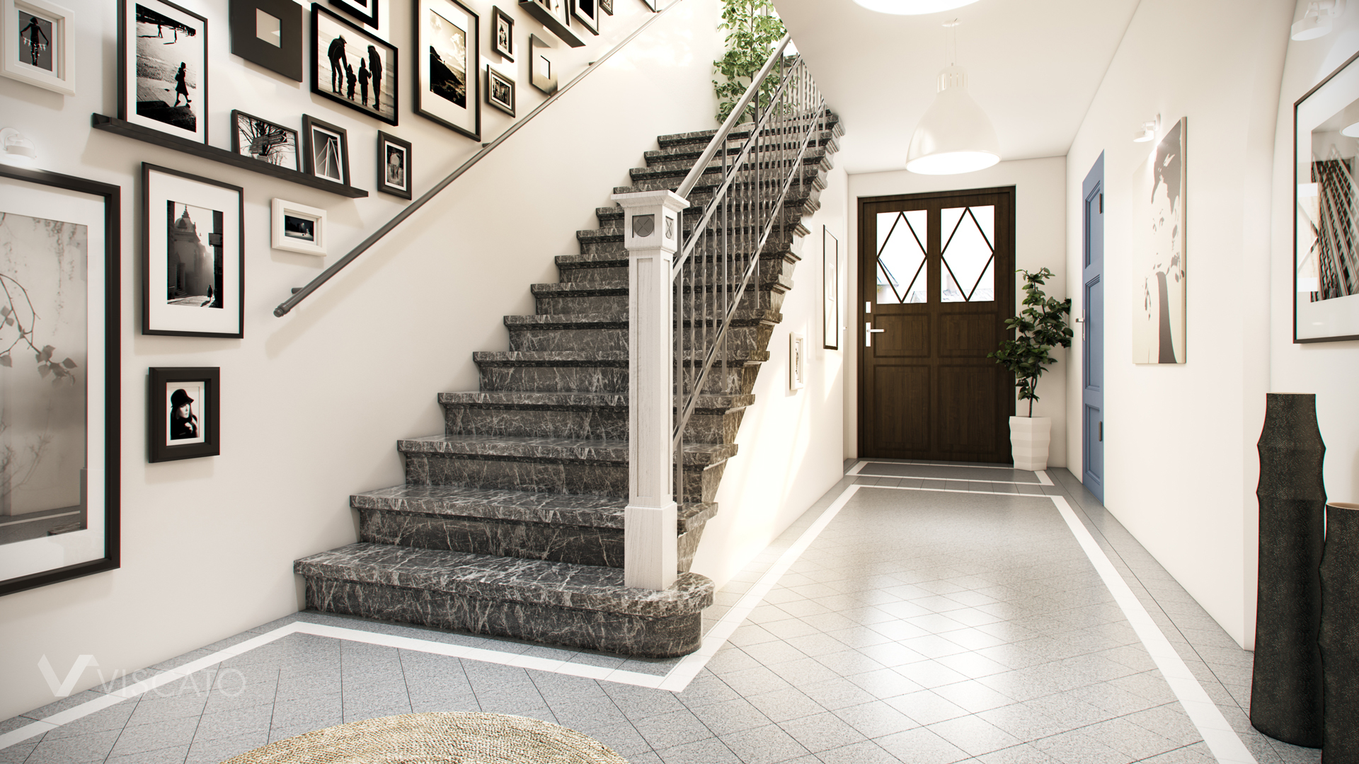 Staircase rendering prepared by 3D company Viscato