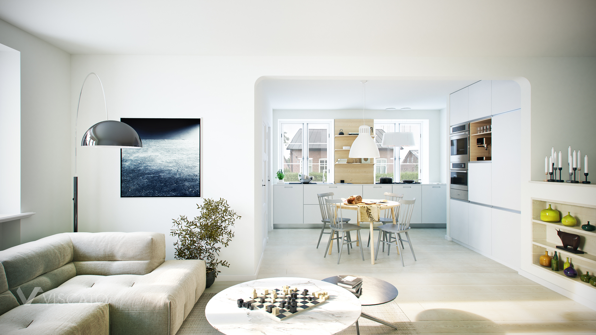 3D visualization of bright interior with interesting details Viscato