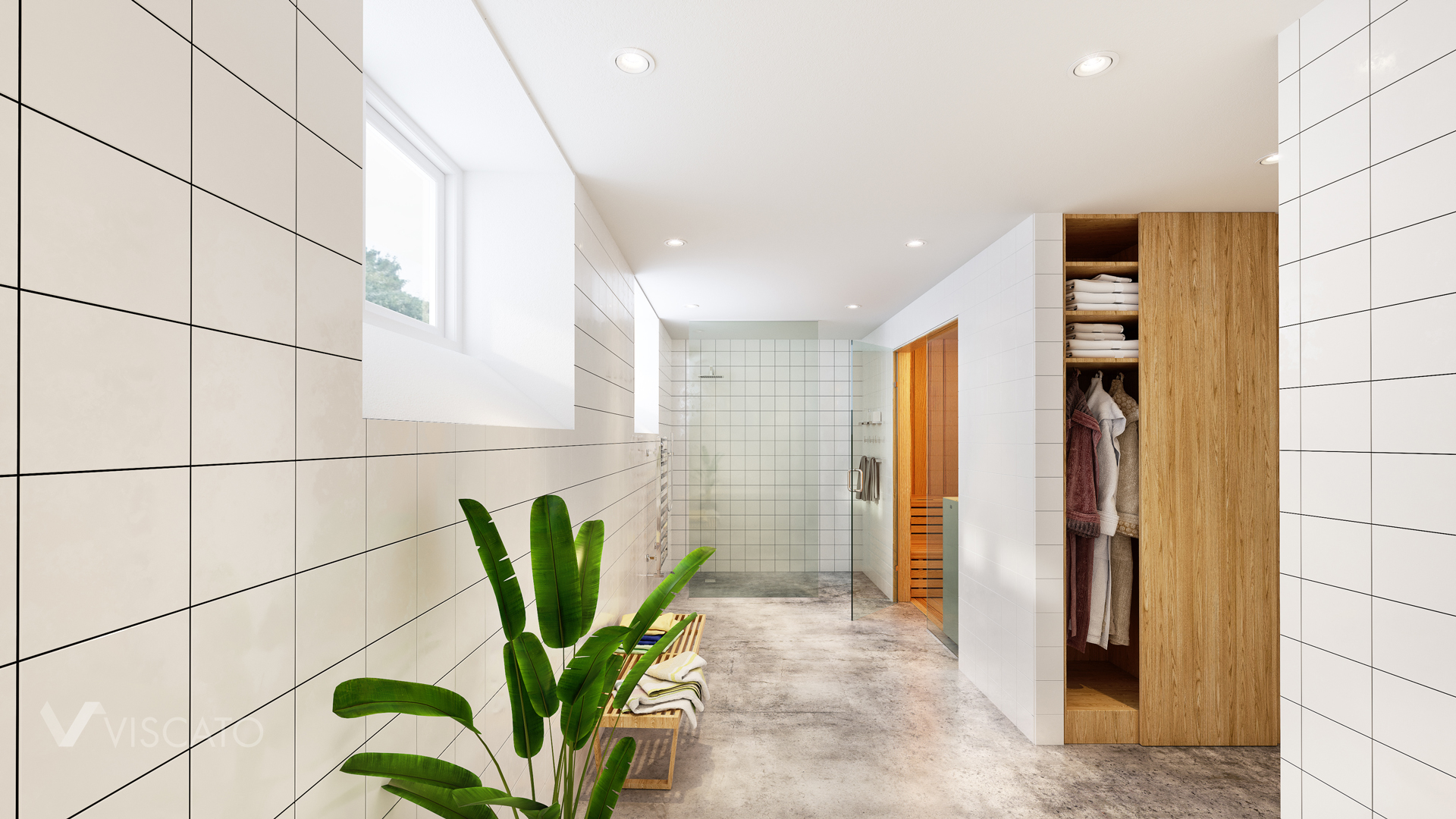 3D views of spacious bathroom with white tiles Viscato