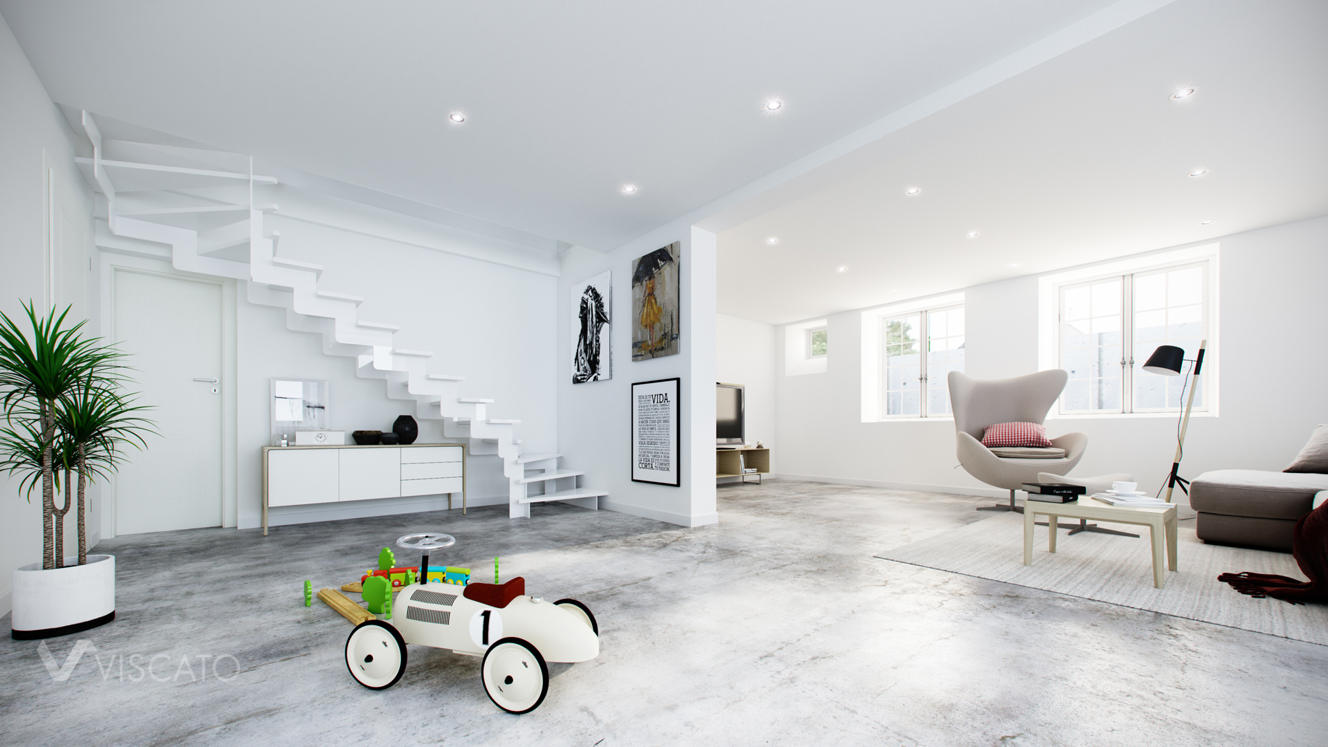 Scandinavian style interior visualization with toy car Viscato