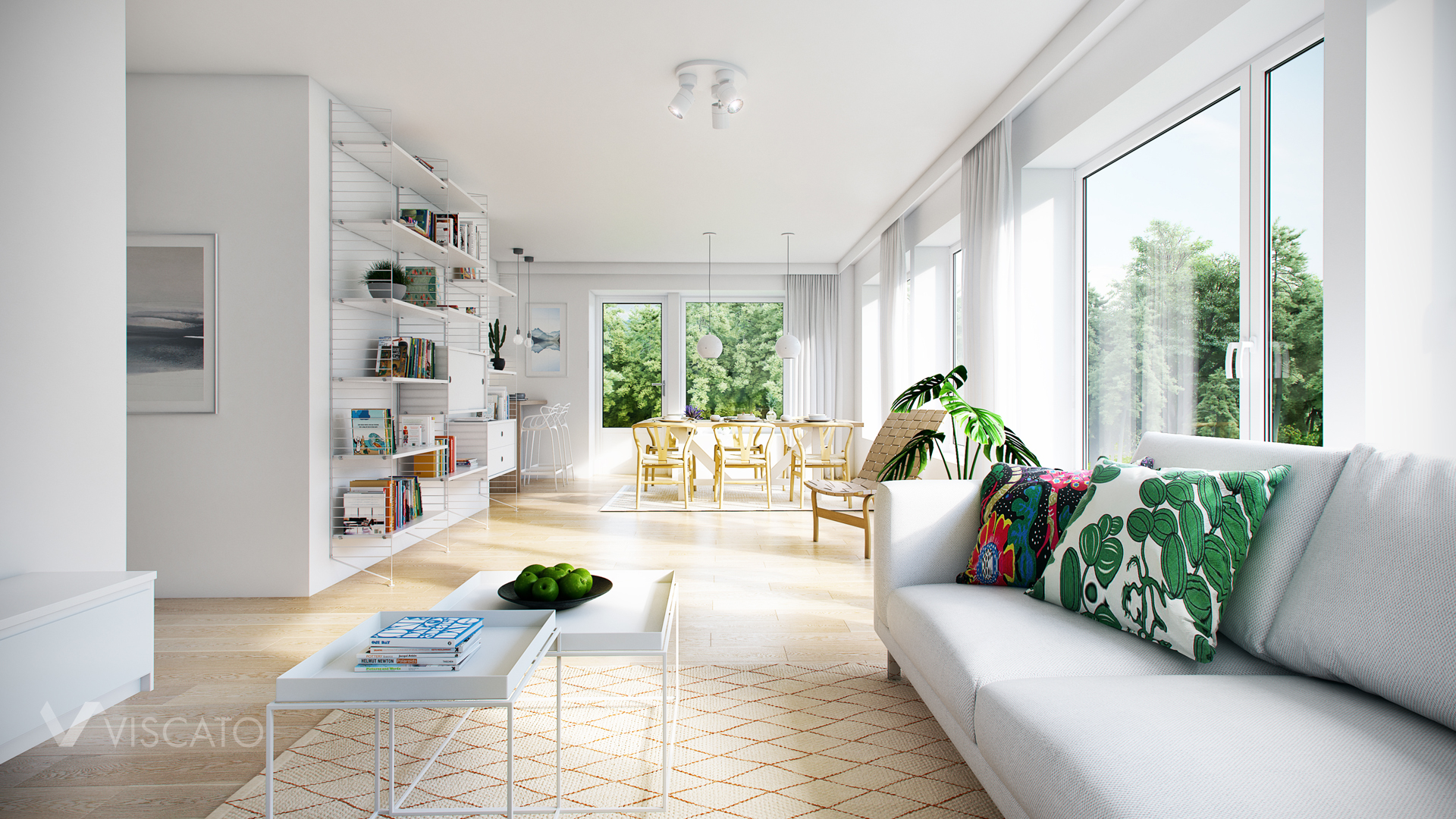 Photorealistic visualization of bright living space Viscato