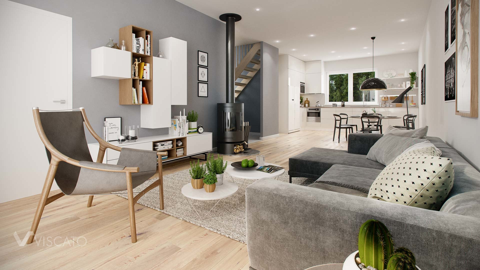 Lifelike renderings of spacious living room with kitchenette Viscato