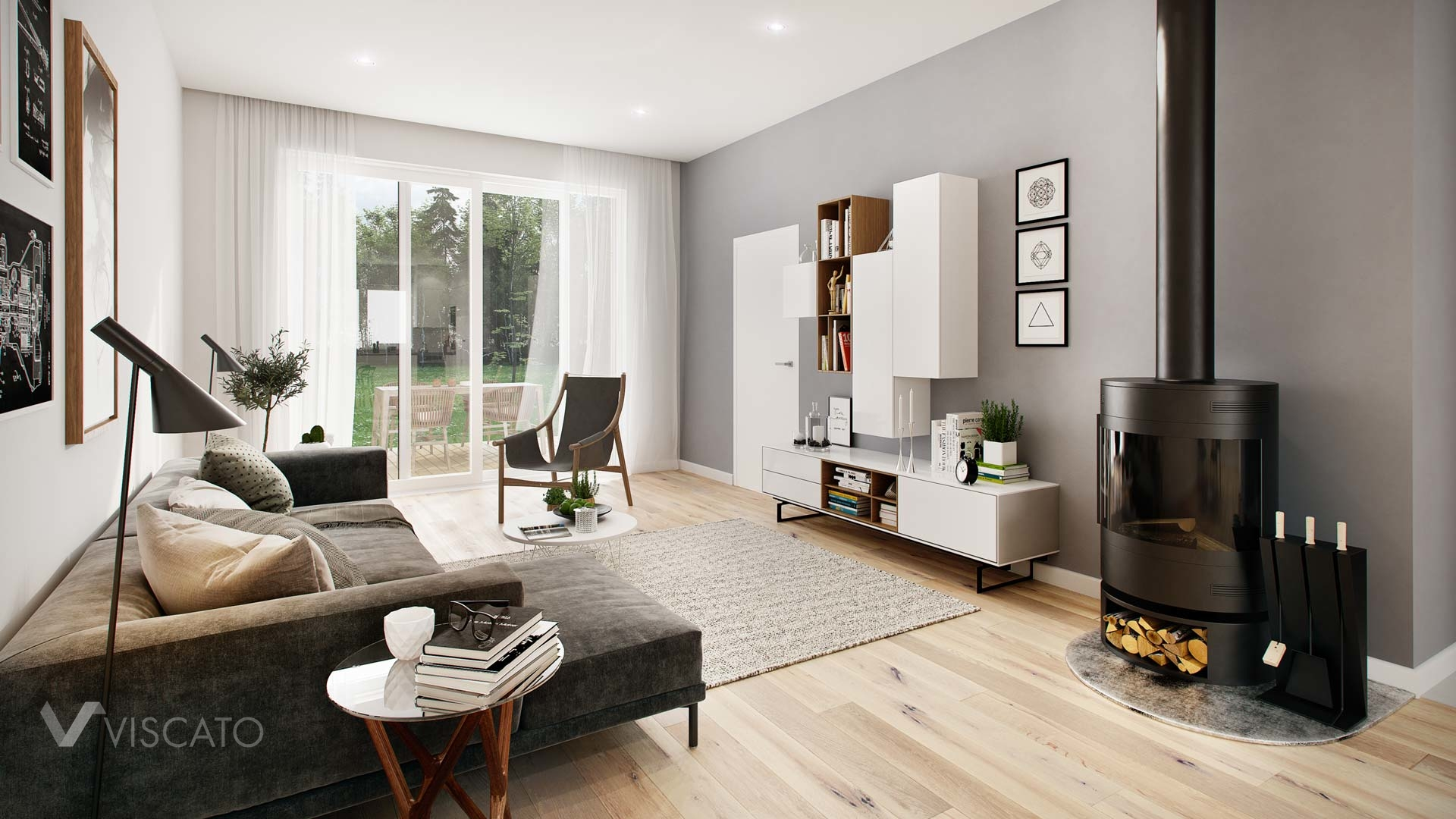 Interior visualization of living-room with fireplace heater Viscato