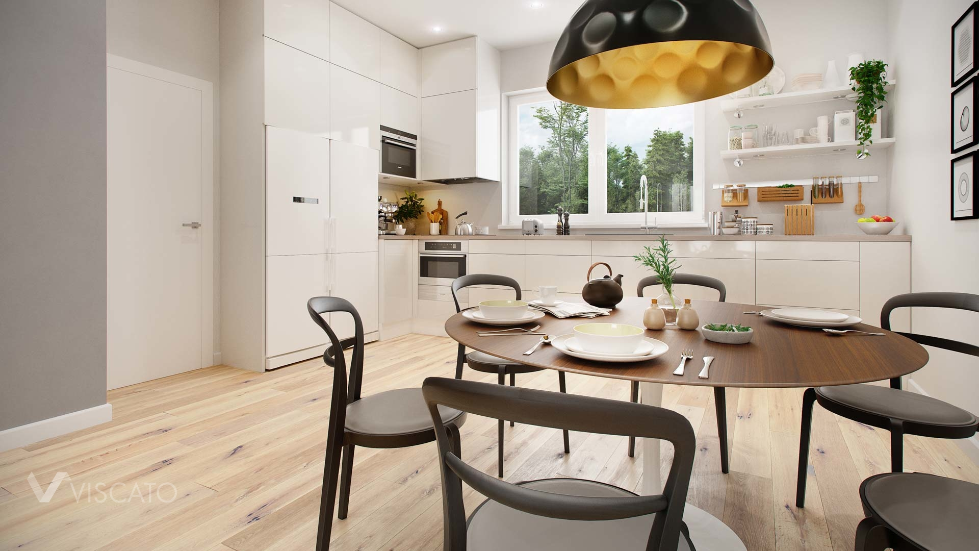 3D Design Rendering of kitchenette with stylish furniture Viscato