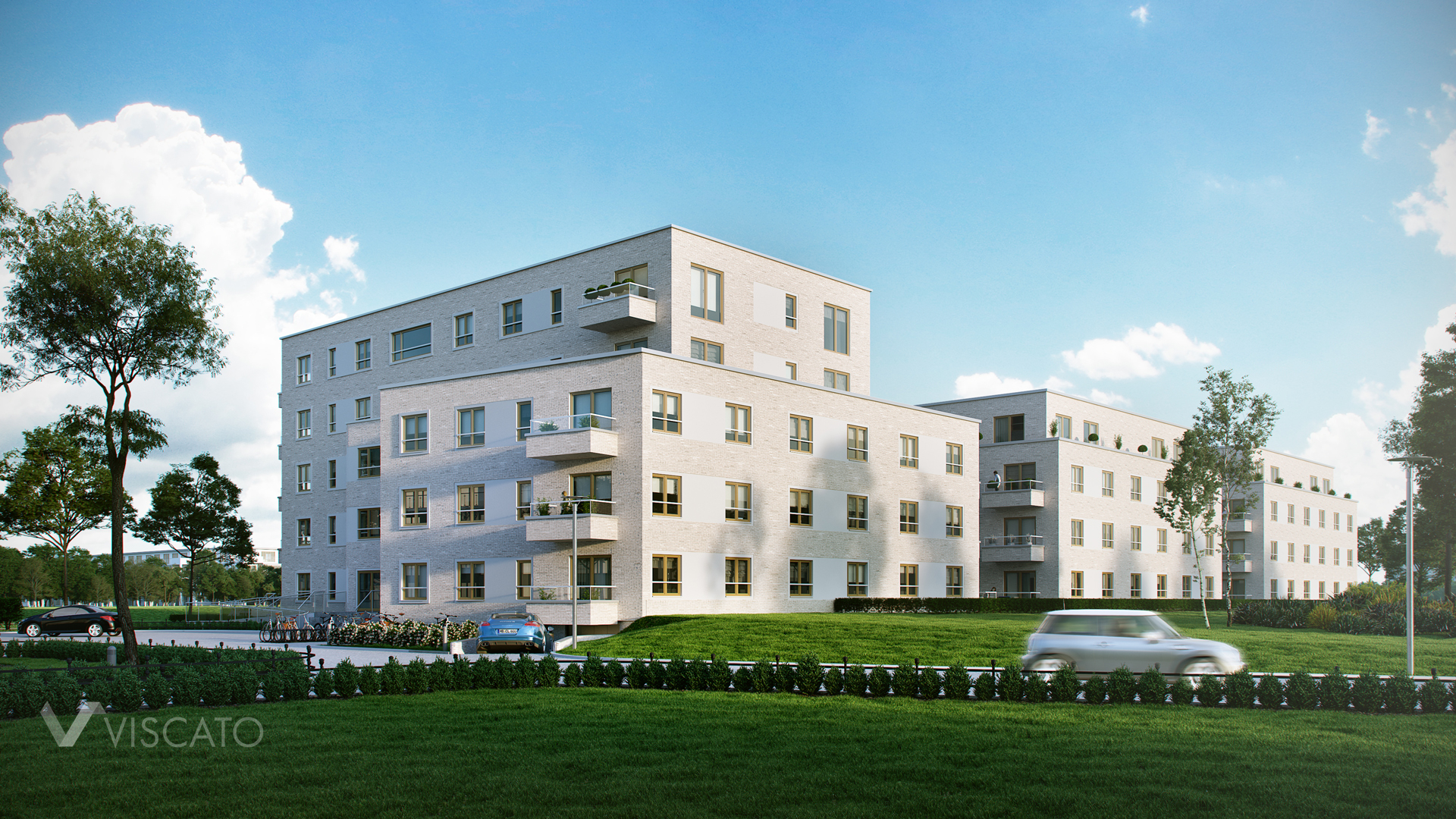 Rendering of an apartment block prepared for German company Viscato