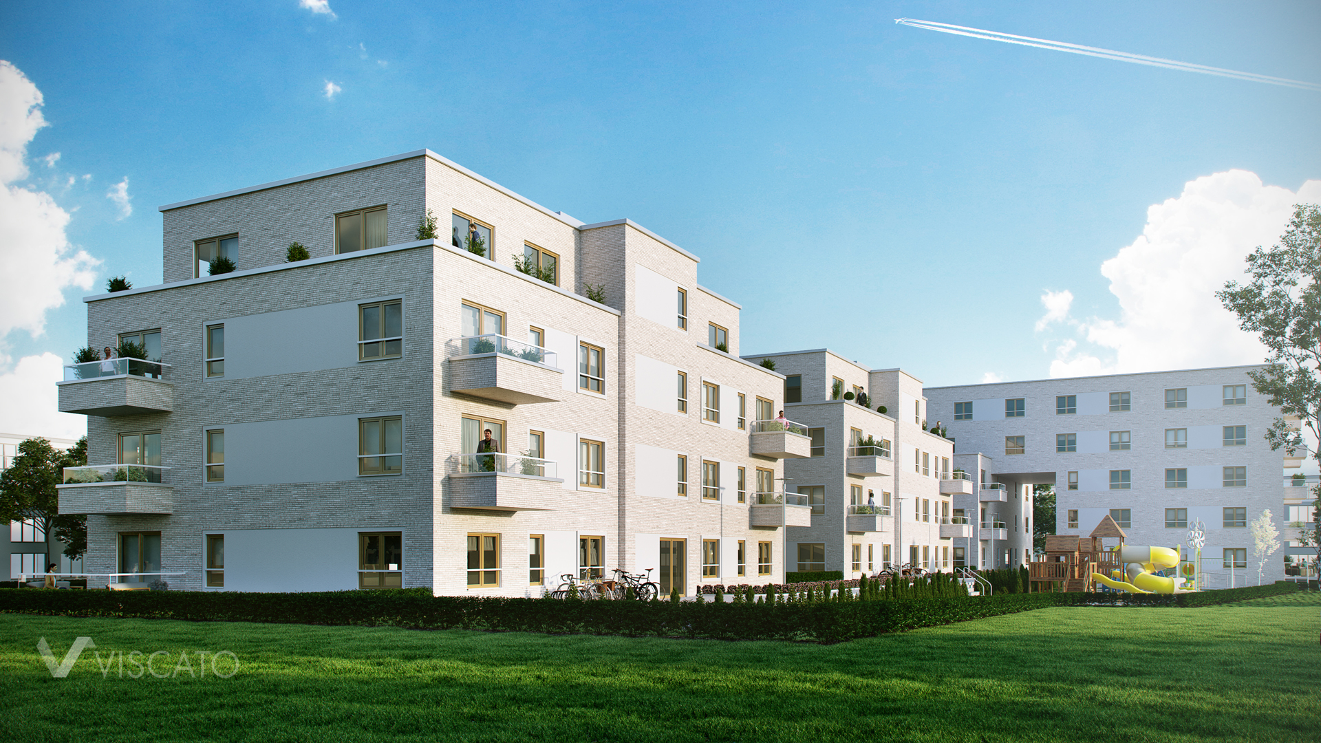3D images of residential building with playground Viscato