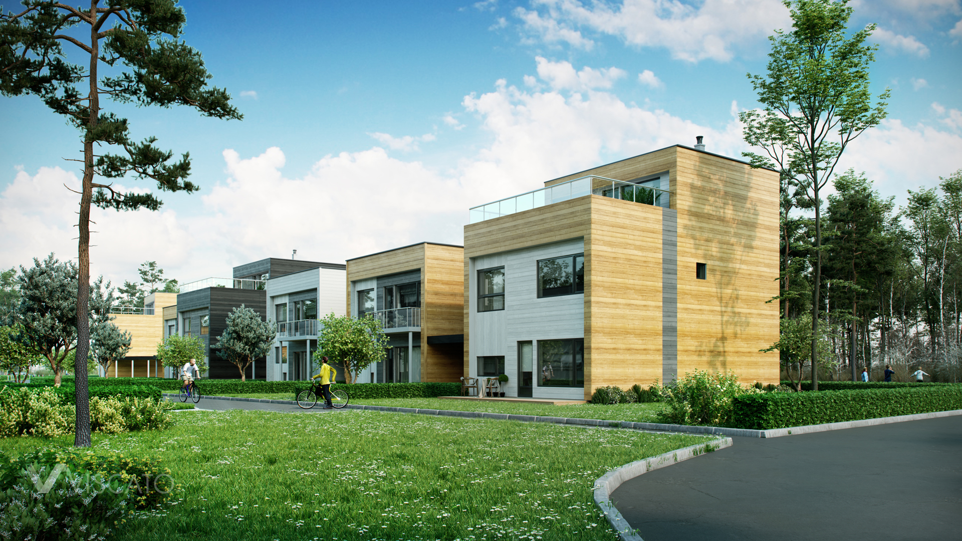3D renderings of housing estate with wooden facade Viscato