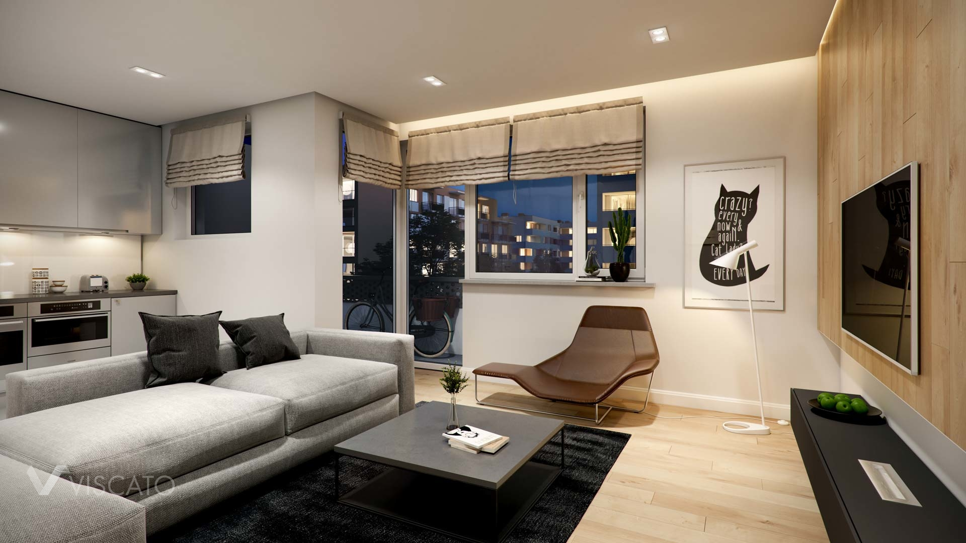 3D illustration of modern living room at night time Viscato