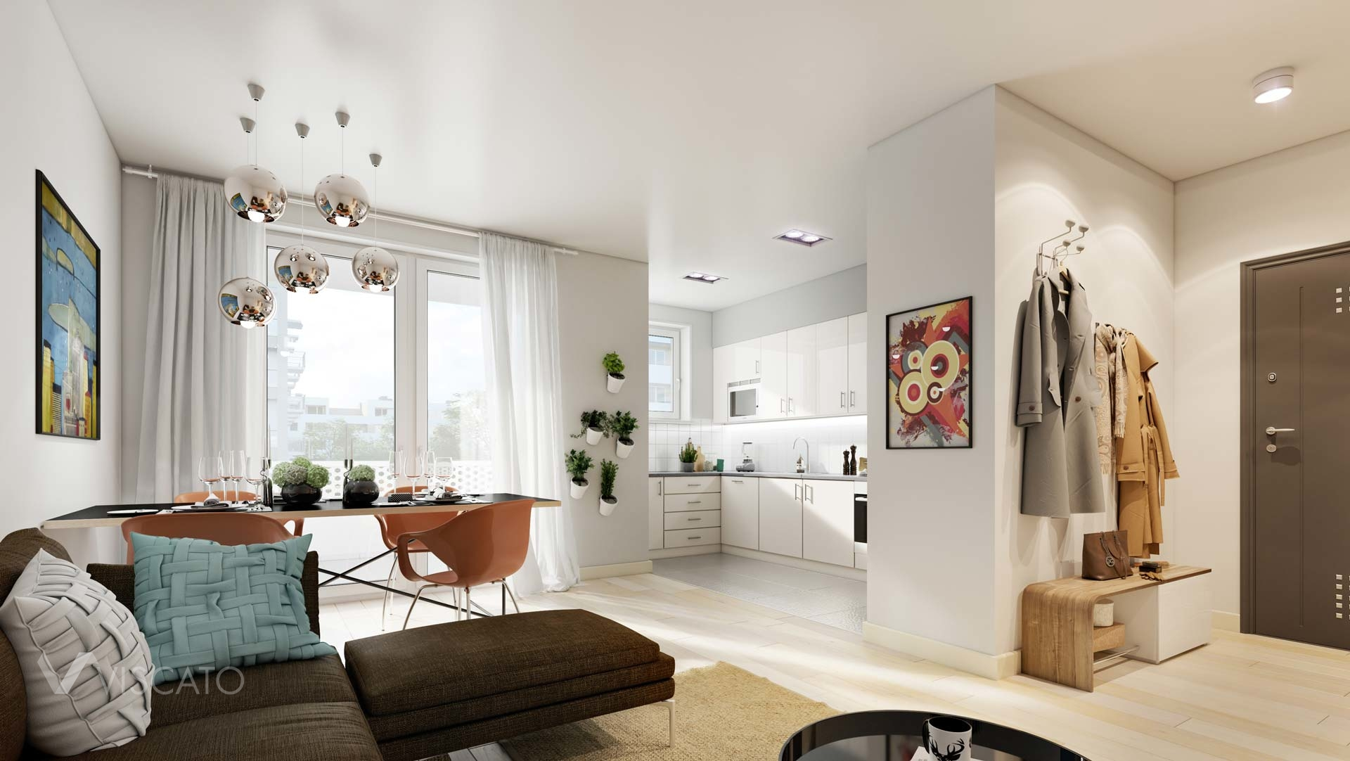 3D rendering of a living room with kitchenette Viscato
