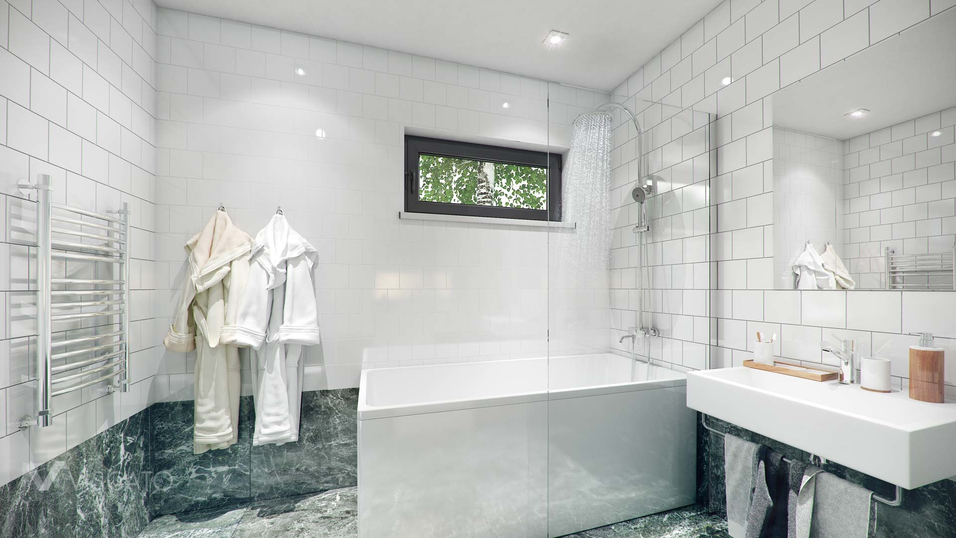 Rendering of spacious bathroom with white tiles Viscato