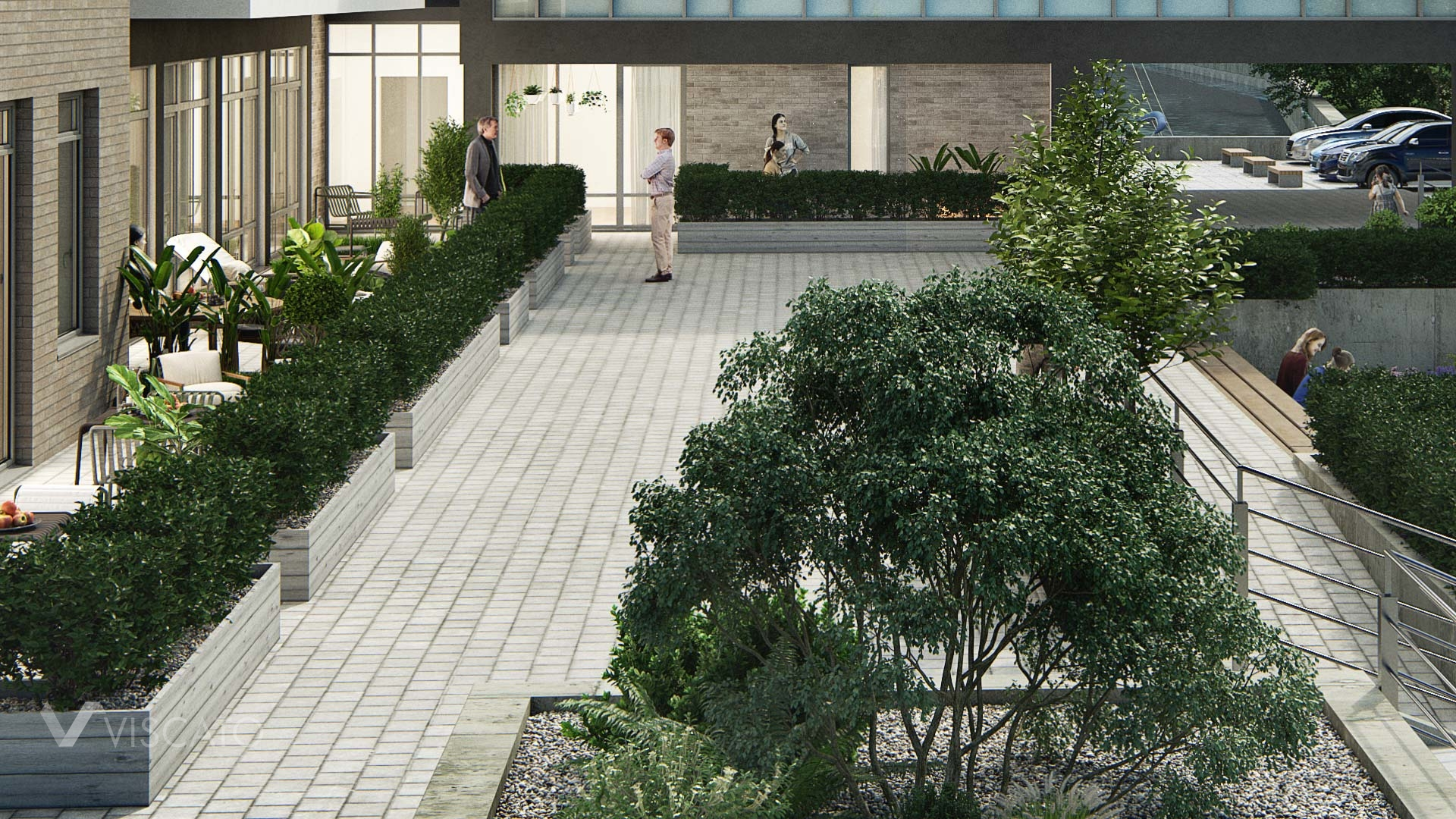 Office and residential building in 3D, detailed view, Vray