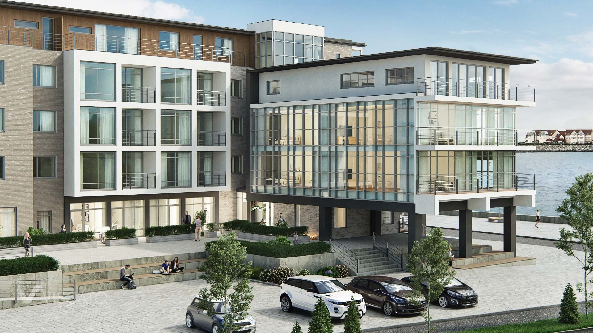 3D exterior visualization of an office and residential building, Viscato
